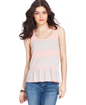 Miss Chievous Juniors' Striped Peplum Tank Top $ 14.99