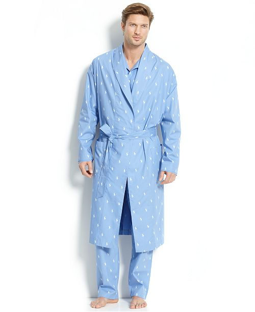 Polo Ralph Lauren Men S All Over Polo Player Robe Reviews Pajamas Lounge Sleepwear Men Macy S