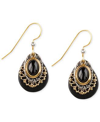 silver forest gold tone black filigree drop earrings
