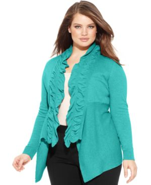 INC International Concepts Plus Size Ruffled Cardigan, Macy's, $43.99