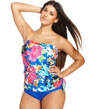 Swim Solutions Plus Size Floral-Print One-Piece Swimsuit Women's Swimsuit