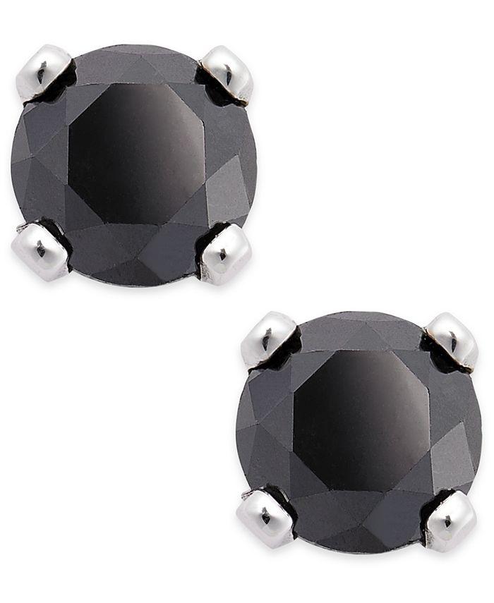 Macy's - Black Diamond Round Stud Earrings in 10k White Gold (1/5 ct. t.w.)