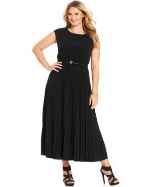 Alfani Plus Plus Size Cap-Sleeve Pleated Maxi Dress