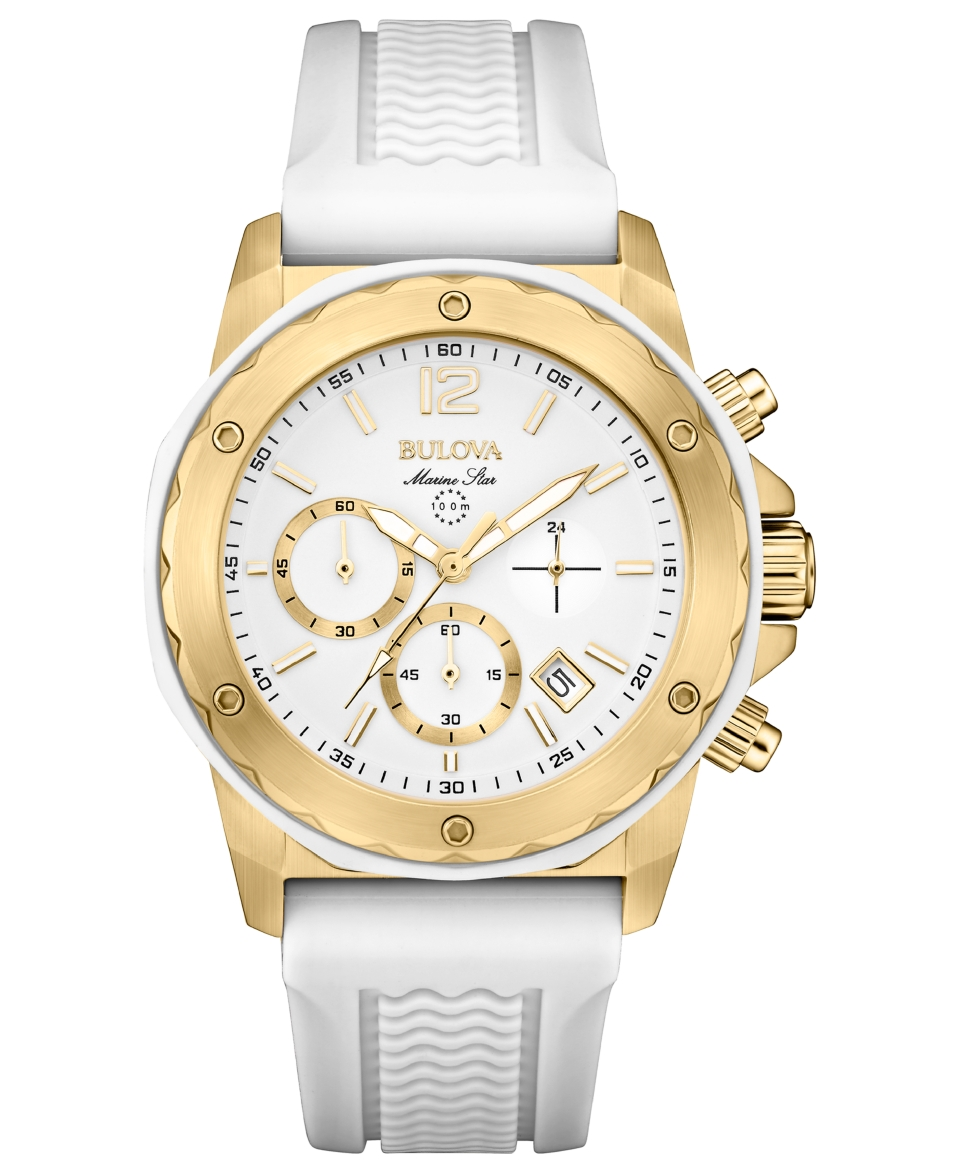 Bulova Womens Chronograph Marine Star White Silicone Strap Watch 36mm 98M117   Watches   Jewelry & Watches