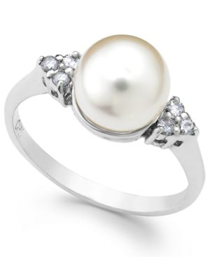 Akoyo Pearl (8mm) and Diamond (1/8 ct. t.w.) Ring in 14k White Gold thumbnail