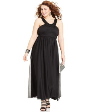Trixxi Plus Size Sleeveless Beaded Empire Gown