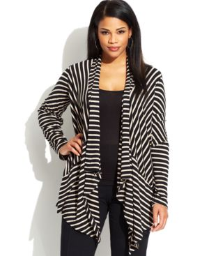 Calvin Klein Plus Size Long-Sleeve Striped Draped Cardigan, Macy's, $86.99