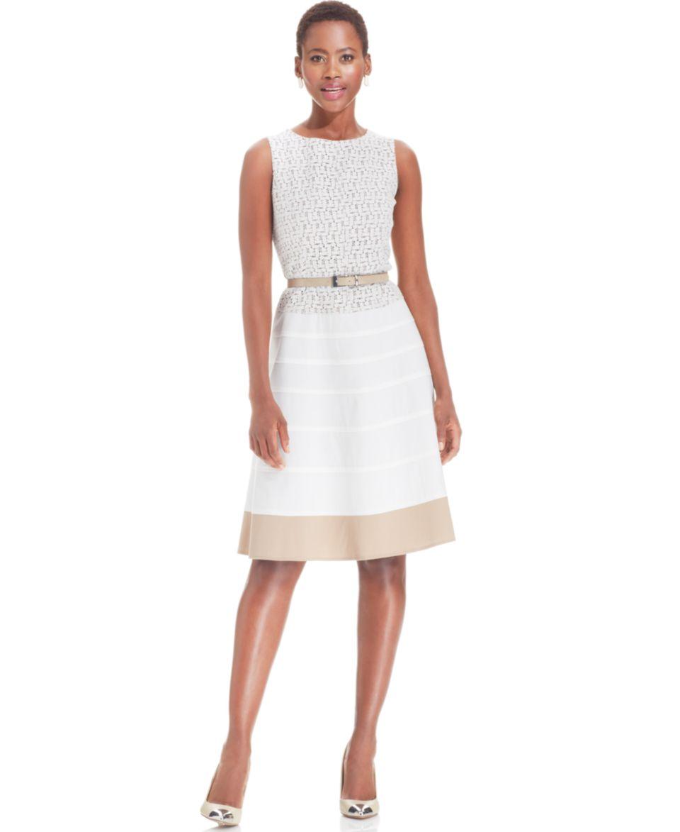 Anne Klein Sleeveless Contrast Lace Dress   Dresses   Women