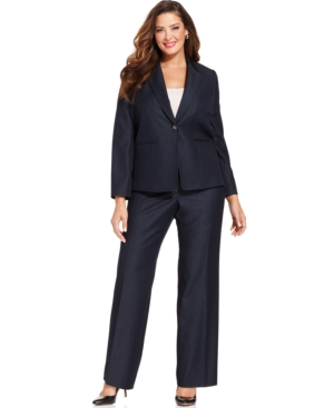 Tahari by ASL Plus Size Single-Button Navy Pantsuit