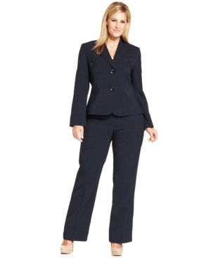 Le Suit Plus Size Two-Button Blazer Crepe Pantsuit