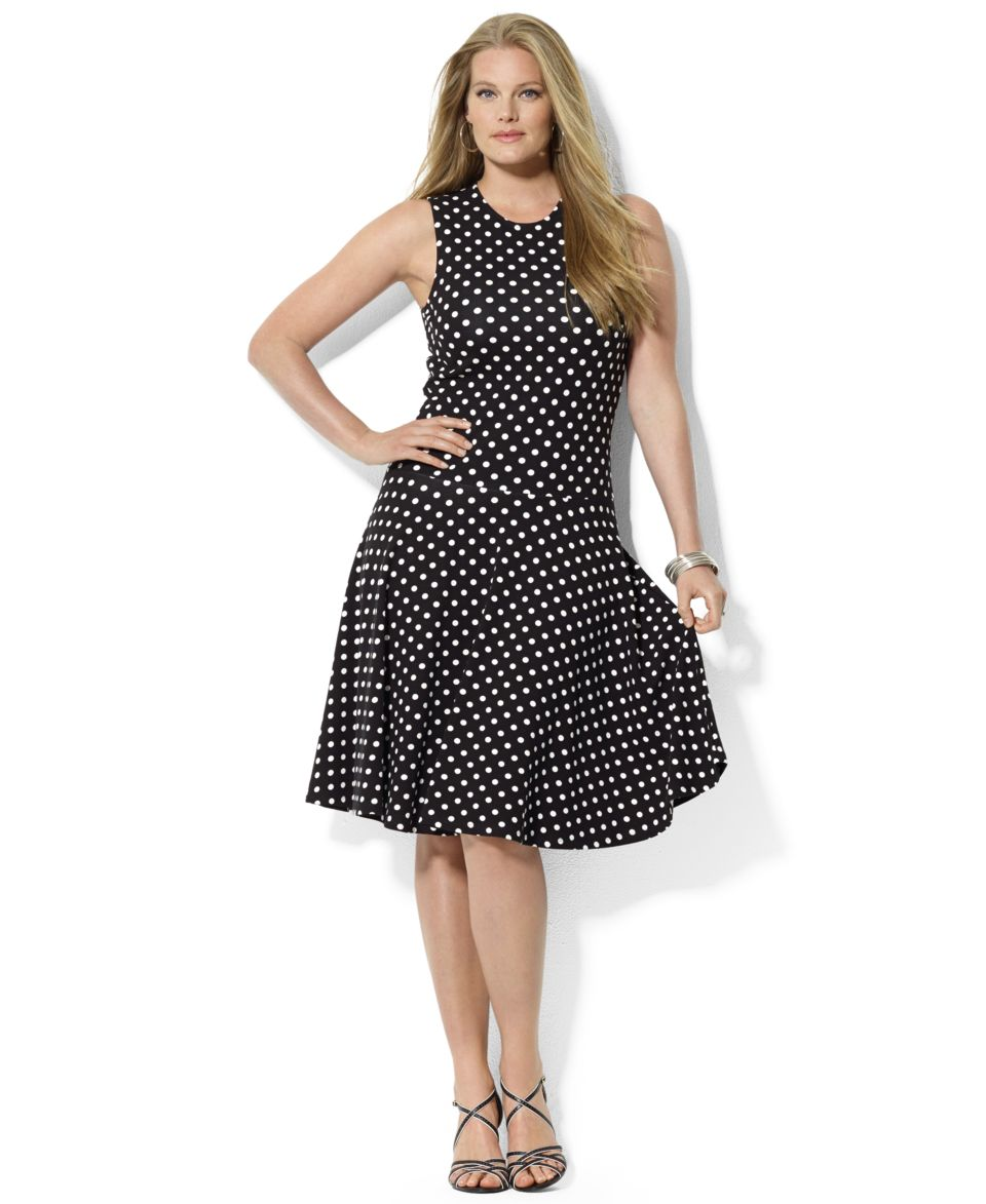 Lauren Ralph Lauren Plus Size Flutter Sleeve Polka Dot Dress   Dresses   Plus Sizes