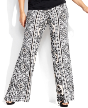 INC International Concepts Plus Size Printed Soft Pants
