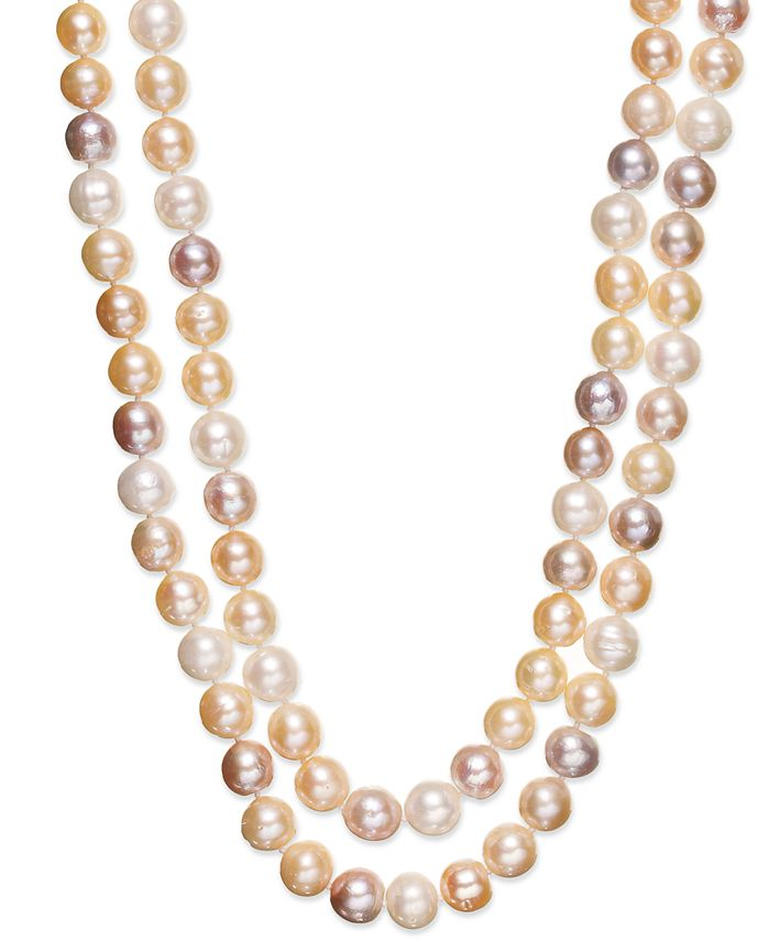 Belle de Mer - Multi Cultured Freshwater Pearl Two-Row Necklace in Sterling Silver (9-1/2mm)