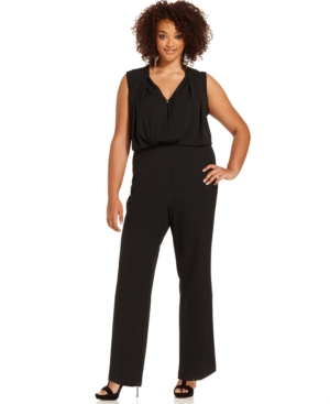 Moda Mix Plus Size Sleeveless Draped Keyhole Jumpsuit