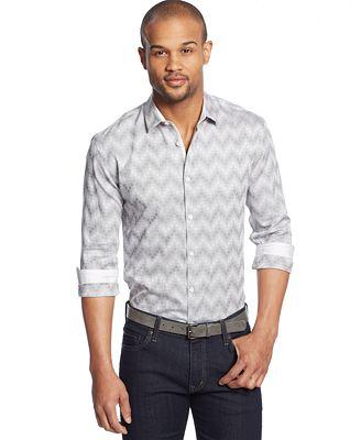 Alfani Black Platinum Montclair Textured Shirt Casual