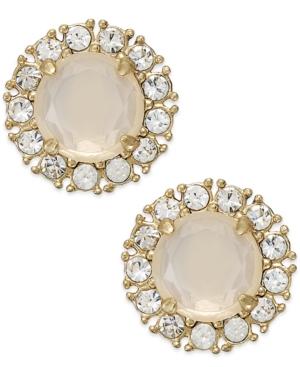 kate spade new york Gold-Tone White Stone Stud Earrings