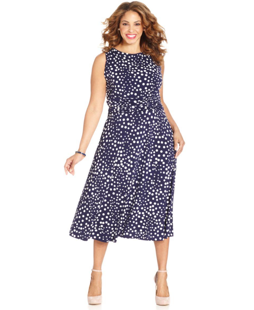 Jessica Howard Plus Size Sleeveless Polka Dot Midi Dress