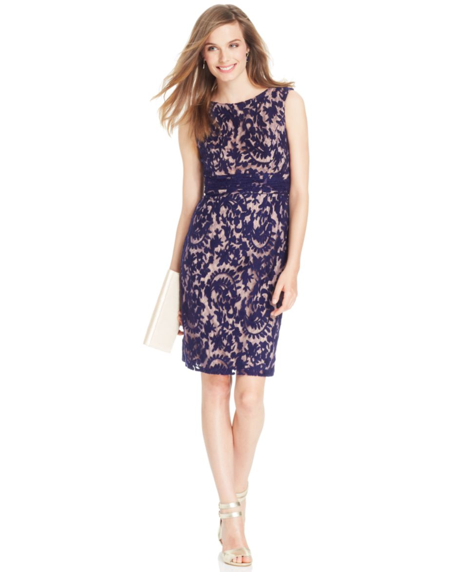 Adrianna Papell Sleeveless Contrast Lace Blouson Dress   Dresses   Women