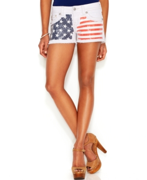 Miss Me Sequin Flag-Print Denim Shorts