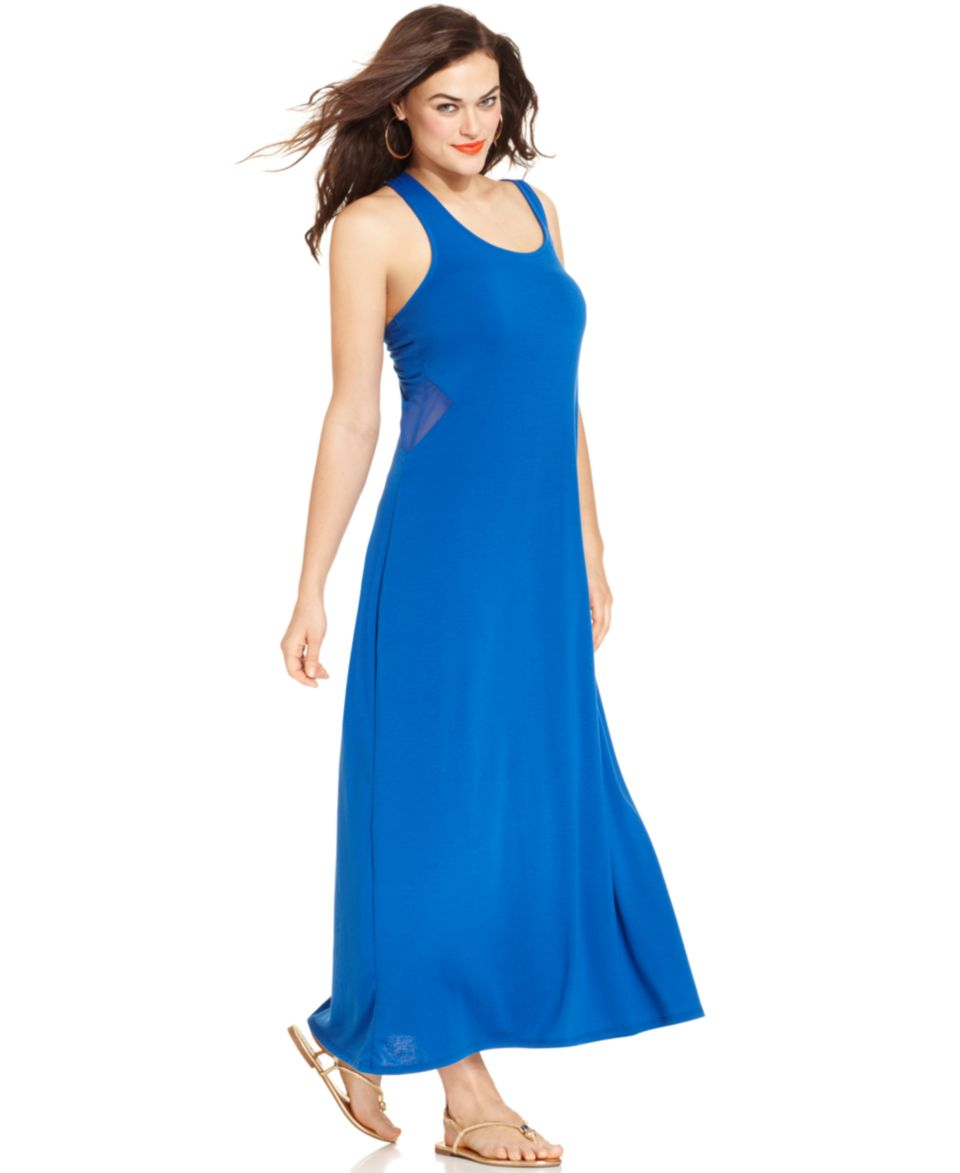 d8d83390b6a0c Extra Touch Plus Size Sleeveless Mesh Maxi Dress on PopScreen