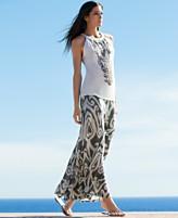 Conceptos INC Internacionales bordado Halter top Printed Maxi Falda