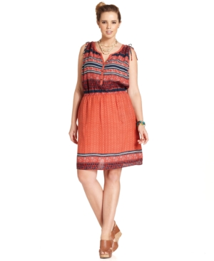 Lucky Brand Jeans Plus Size Sleevless Printed Blouson Dress