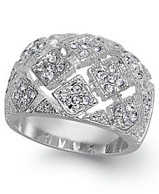 Charter Club Silver Plate Crystal Mesh Wide Ring