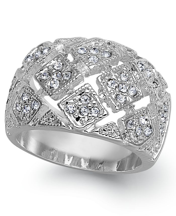 Charter Club - Fine Silver Plate Crystal Mesh Wide Ring