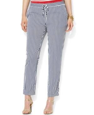 Lauren Ralph Lauren Plus Size Striped Drawcord Pants