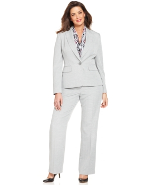Le Suit Plus Size Single-Button Pantsuit with Scarf