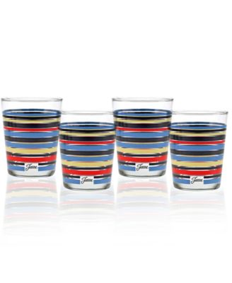 Fiesta Peacock Stripe Set of 4 Double Old-Fashioned Glasses