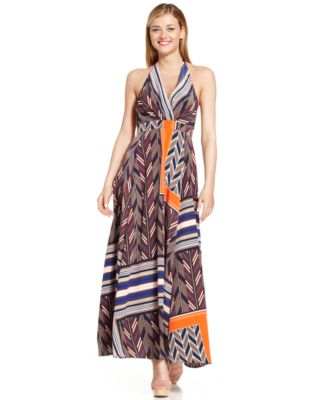 Tribal-Print Halter Maxi Dress
