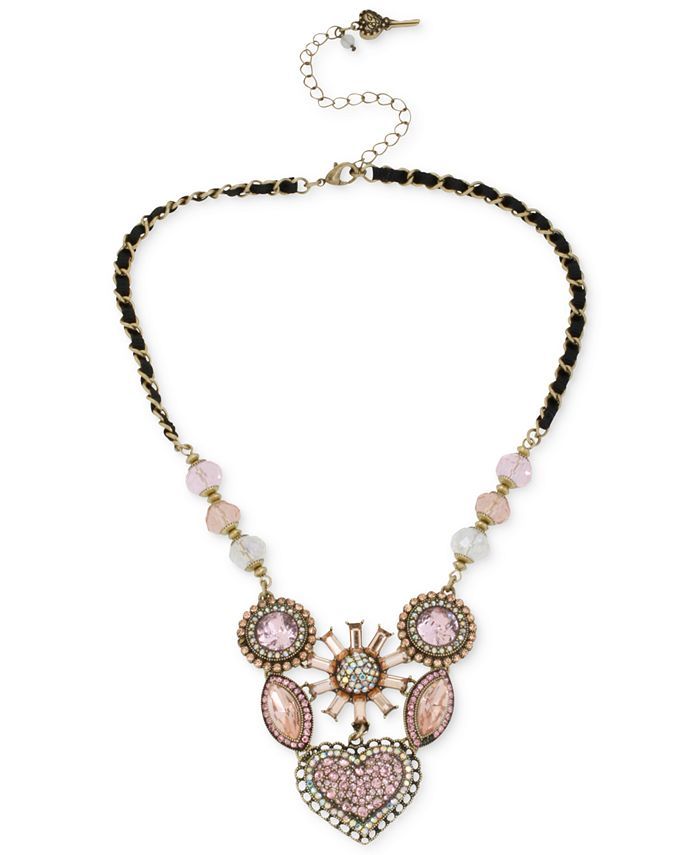Betsey Johnson - Gold-Tone Crystal Gem Cluster Frontal Necklace