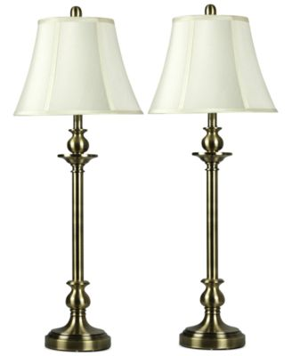 StyleCraft Set of 2 Antique Brass Buffet Table Lamps