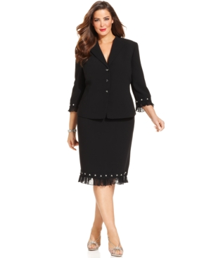 Tahari ASL Plus Size Embellished Chiffon-Trim Skirt Suit