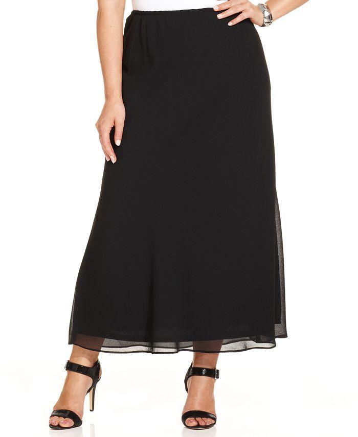 MSK - Plus Size Chiffon Maxi Skirt