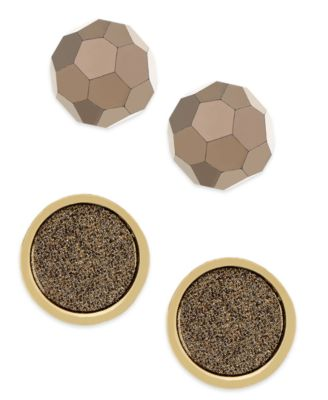 ABS by Allen Schwartz Gold-Tone Faceted Bead and Druzy Stone Stud Earrings Set