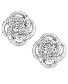 Diamond Love Knot Stud Earrings in Sterling Silver or 18k Gold-Plated Sterling Silver (1/10 ct. t.w.)