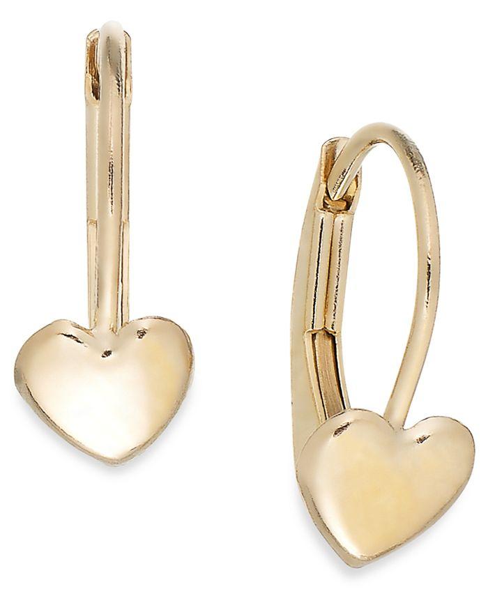 Macy's - Children's Heart Hoop Earrings in 14k Gold