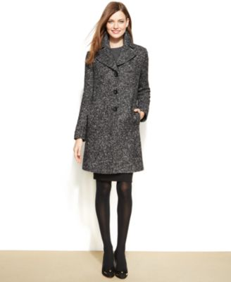 Larry Levine WoolBlend NotchedCollar Walker Coat