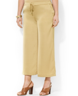 Lauren Ralph Lauren Plus Size Cropped Wide-Leg Soft Pants