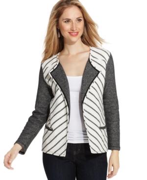 Style & co. Plus Size Colorblocked Striped Blazer