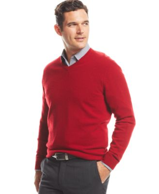 Image of Club Room Cashmere V-Neck Solid Sweater