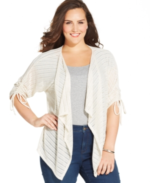 Style & co. Plus Size Three-Quarter-Sleeve Striped Cardigan