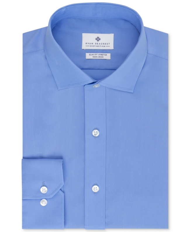 Ryan Seacrest Distinction Non Iron Slim Fit Blue Solid Dress Shirt   Top and Clothing