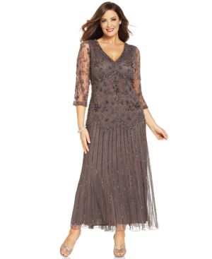 Pisarro Nights Plus Size Three-Quarter-Sleeve Beaded Gown