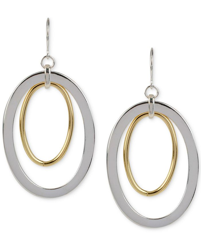 Hint of Gold - Oval Drop Earrings in Silver-Plated and 14k Gold-Plated Metal