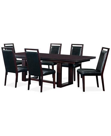 black 7 piece dining room set | Belaire Black 7 Piece Dining Room Furniture Set ...