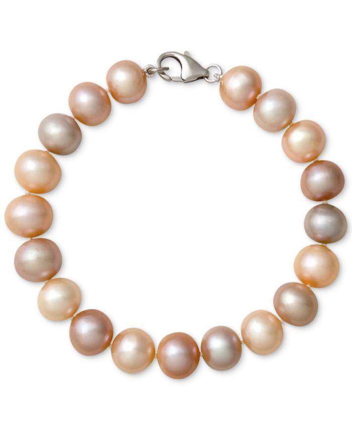 Belle de Mer Multi-Color Cultured Freshwater Pearl Bracelet in Sterling Silver (9-1/2mm) & Reviews - Bracelets - Jewelry & Watches - Macy's