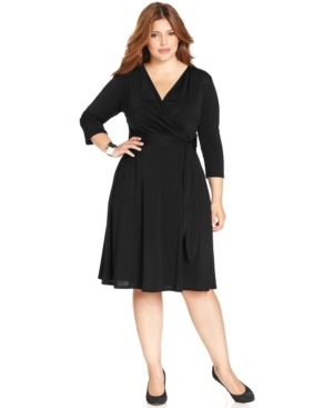 Ny Collection Plus Size Faux-Wrap B-Slim Dress